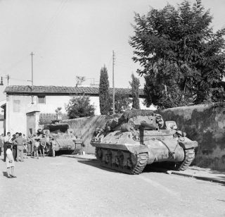 firenze M10 3-inch self-propelled guns parked in the Via Andrea Del Sarto in Florence, 13 August 1944