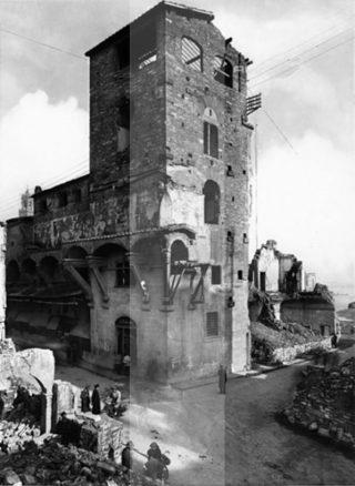 firenze Seconda Guerra Mondiale danni provocati dalle mine tedesche alla torre dei Mannelli imbocco del Ponte Vecchio 1944