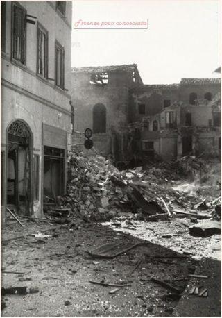 firenze Via Vacchereccia e Palazzo di Parte Guelfa, subito dopo i bombardamenti anglo - americani o delle mine tedesche 1944