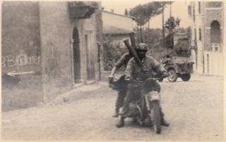 montecassino_German paratroopers in uniform with motorbike
