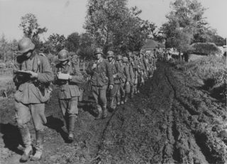 column of German infantry