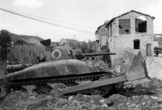 M4 Sherman Dozer 16th Engineers Clear Rubble in Italy Gothic Line 1944