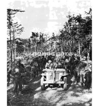 linea gotica Troop of  the 338th Infantry advancing  along  Highway  6524