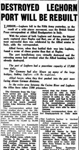articolo 20 luglio 1944 porto livorno distrutto