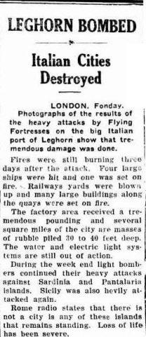 articolo 31 maggio 1943 livorno bombing cities