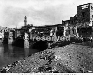 World War II: the Ponte Vecchio, seen from the rubble of Borgo S
