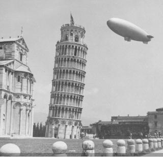 US Navy airship K-101 of Airship Patrol Squadron ZP-14 at Pisa Italy May 1945