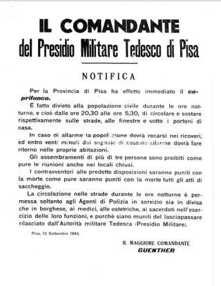 manifesto coprifuoco a pisa 1943