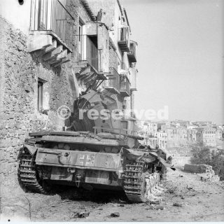 17 August 1943 A German Mk III tank knocked out during the fierce street fighting in sicilia Centuripe enna_sicilia word war