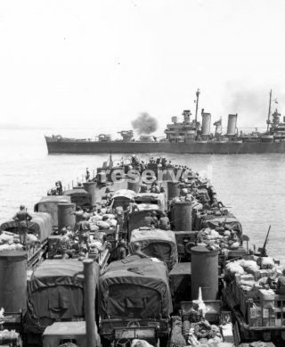 gela sicilia AN LST DECK-LOADED WITH MEN AND EQUIPMENT