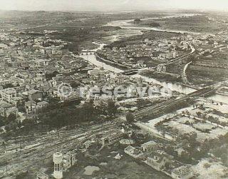 Rimini Italy 21 September 1944  Aerial view of Rimini shows the River Marecchia_rimini foto di guerra