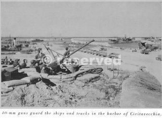 civitavecchia 40mm-guns the ships and trucks in the harbor 1944