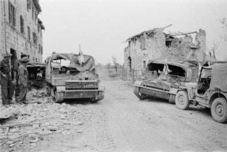 New Zealand Bren carriers at the captured village of Sesto Imolese Italy