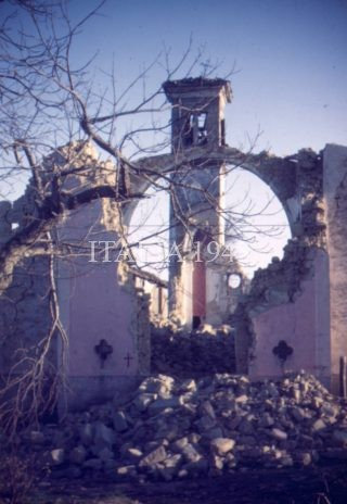 Shelled church at Castel D'Aiano Italy 1945