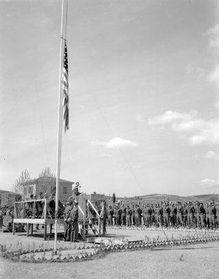 April 6 1945 Stage and soldiers at memorial services Castelfiorentino Italy
