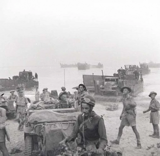 The Royal 22 Regiment landing on the beach at Reggio di Calabria on the morning of September 3rd 1943