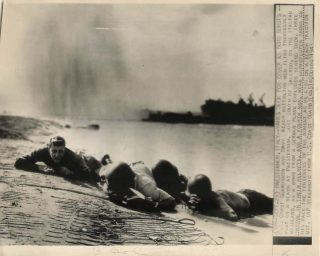 WWII US Troops Under Fire on Paesternum Beach near Salerno