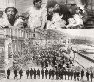 bombardamento da parte delle forze alleate e tedesche ha lasciato la zona portuale di Napoli distrutta_napoli guerra