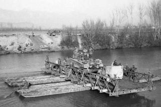 Sherman tank rafted across the Garigliano River