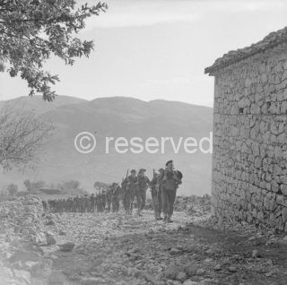 British troops climbing a mountain to the Gothic Line - Italy 1944