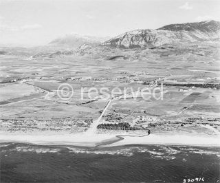 Partial aerial view of the Salerno Beachhead, taken before the landings in 1943