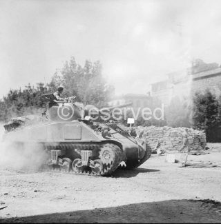 Sherman tank of 26th Armoured Brigade 6th Armoured Division Arezzo 16 July 1944
